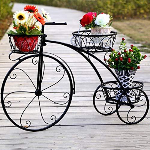 Support à fleurs Style rétro Art de fer Forme de bicyclette Style d'atterrissage Balcon simple en pot Plateau à fleurs Support extérieur intérieur Balcon Jardin (Couleur : Noir)