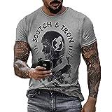 Camiseta de Cuello Redondo con Estampado de Motor de Motocicleta Americana para Hombre, Camiseta de Manga Corta Informal Retro con Calavera