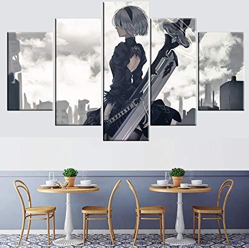 MWMMWLH Leinwanddrucke 5 Stücke Anime Nier: Automata 2B Poster Moderne Modulare Wohnkultur Wohnzimmer Wandkunst (Kein Rahmen) Größe A