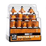 Router Bits Set 1/4 Inch Shank - 12 Piece Kit for Woodworking, Home Improvement and DIY Projects