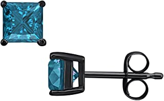 RUDRAFASHION 3.50 CT Princess Cut Swiss Blue Topaz (7MM) Solitaire Stud Earrings 14K Black Gold Over .925 Sterling Silver