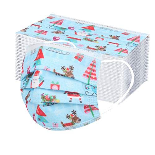 jfhrfged Adulto Protección 3 Capas Transpirables A Prueba de Polvo Impresión de Navidad con Elástico para Los Oídos Pack 10/20/30/50/100 unidades (30PC, Azul)