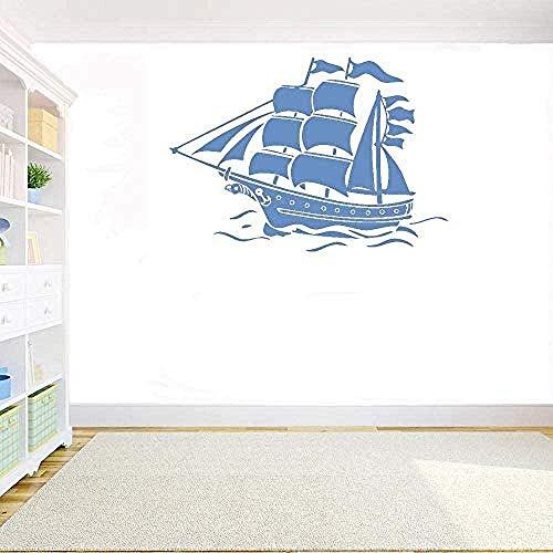 YFKSLAY Pegatinas de Pared náutico Barco Pirata calcomanías de Vinilo decoración del hogar Sala de niños Sala de Estar decoración de la Pared extraíble 42X30Cm