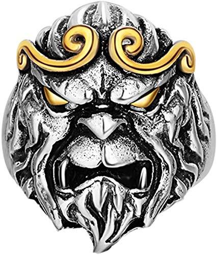 YAOLU Anillo de plata de ley 925 con diseño de aro de oro vintage y cabeza de mono para hombre, ajustable