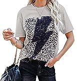 Pullover Top Camiseta Estampada De Manga Corta con Cuello Redondo Y Estampado De Rayos New Lightning para Mujer