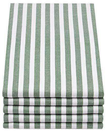 ZOLLNER 5er Set Geschirrtücher gestreift, 50x70 cm, dunkelgrün weiß gestreift