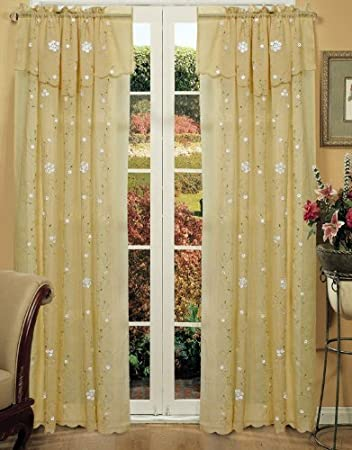 Amazon Com Creative Linens Daisy Embroidered Floral Window Curtain Panel 50x84 In 6 Colors Gold Ivory Lavender Mint Green Pink Taupe One Piece Gold Kitchen Dining