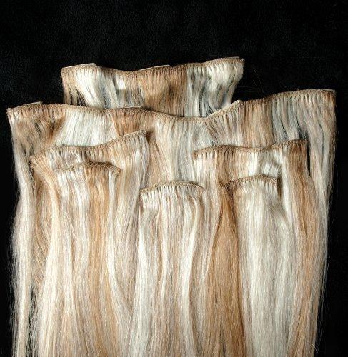 45,7 cm méché 100% Remy extensions de cheveux humains 7 pièces à clipser Blond # 27/613 mixte