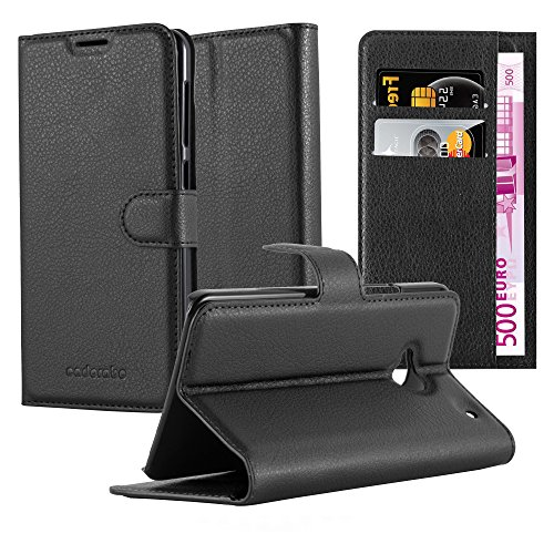 Cadorabo Funda Libro para HTC One M7 (1. Gen.) en Negro Fantasma - Cubierta Proteccíon con Cierre Magnético, Tarjetero y Función de Suporte - Etui Case Cover Carcasa