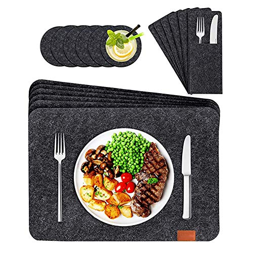 Placemats Manteles Individuales Lavables de Fieltro Juego de 6 – Incluidos Mantel Individual, Posavasos, Bolsas para Cubiertos – para la Mesa de Comedor de Cocina (Gris Oscuro)