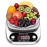 himaly 10kg/1g Balances de Cuisine Alimentaire Electronique Haute Précision Ecran LCD Rétroéclairé pour Cuisine Précise Cuire au Four Bijoux Argent (Argent) (Argent, 10KG)
