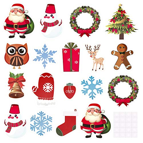 60 Pieces Christmas Cut-Outs Assorted Xmas Cut-Outs Snowflake Santa Stockings Print Cut-Outs with Glue Point Dots for Winter Bulletin Board Classroom Party Decorations