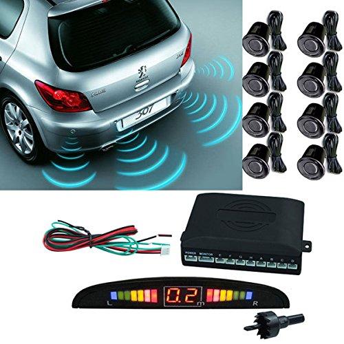 VINGO® 8 Sensoren Refraktometer Einparkhilfe Rückparkhilfe KFZ Silver AUTO Parksystem Parksensoren (8er Einbau-Sensoren schwarz)