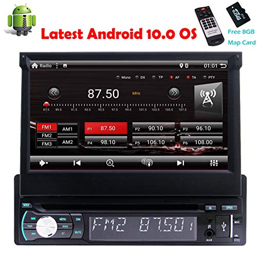 EinCar Android 10 Single Din Stereo Car DVD Player GPS Navigation Bluetooth Hand-Free Quad Core 7 Inch Capacitive Touch Screen 1 Din Radio RDS Receiver Support Remote FM/AM RDS USB SD with Camera-in