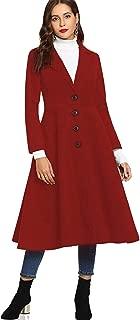 SUNJIN ACRO Women's Winter Swing Lapel Overcoat Single Breasted Long Trench Coat Dress