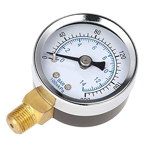 Yongenee 40mm 0~200 PSI 0~14 Bar Piscina Filtro de Agua Dial de presión de presión de presión hidráulica Medidor de medidor MANÓmetro 1/8'THRICHN Hilo