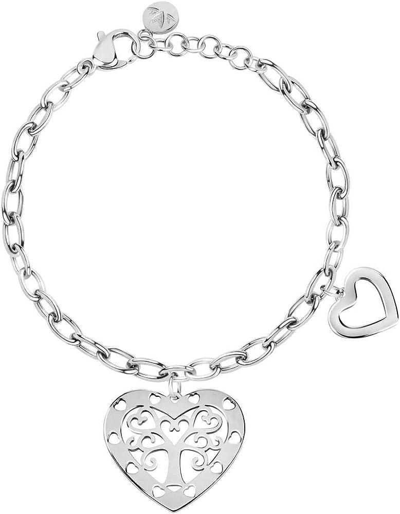 Morellato, bracciale da donna, collezione talismani, in acciaio inossidabile ,con charms,ciondoli SAQE35
