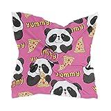 XiangHeFu Chica Chifón Panda Comer Pizza Pañuelo Pañuelo Pañuelo de seda Casco Transparente