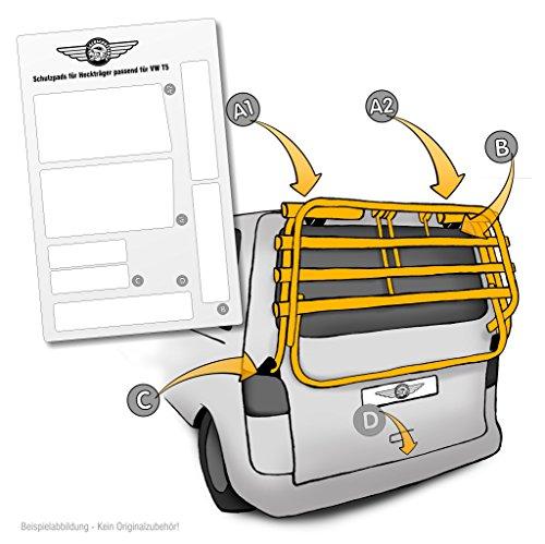 Lackschutzpads passend für original Fahrradträger vom Hersteller (VW T5 Multivan, Caravelle) Selbstklebende transparente Lackschutzfolie Schutzpads (7tlg) für Fahrradheckträger/Heckklappenträger
