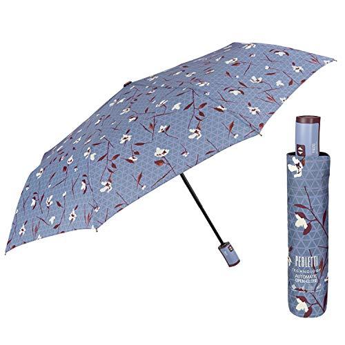 Paraguas Mujer Plegable con Fantasía Floreal - Sombrilla Lluvia Abre y Cierra Automático - Paraguas Resistente Cortaviento Pequeño Compacto de Bolso - Diámetro 98 cm PERLETTI Technology (Flor Azul)