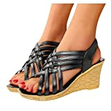 Aniywn Women's Wedge Sandals Ankle Strap Slingback Sandals Peep Toe Cutout Platform Wedges Sandals Breathable Casual Shoes Black