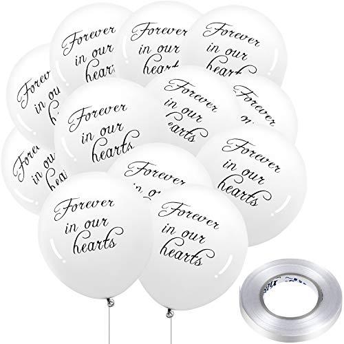 50 Stücke Weiße Trauer Luftballons Gedenk Luftballons Biologisch Latex Luftballons mit 3 Rollen 32 Fuß Ballon Bänder für Beerdigung Denkmal Dekoration