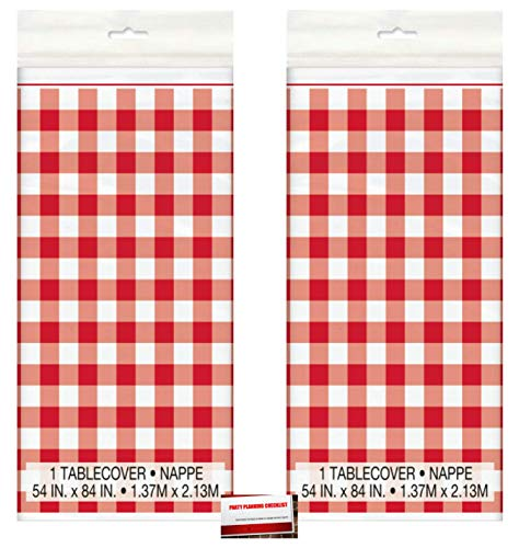 (2 Pack) Buffalo Plaid Check Red White Gingham Picnic Plastic Table Cover 54 x 84 Inches (Plus Party Planning Checklist by Mikes Super Store)