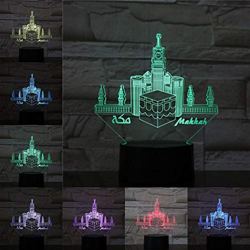 Mecca Mosque Makka USB Acrylic Famous Buildings 3D LED Night Light Table Lamp Bedside Decoration Kids Gift