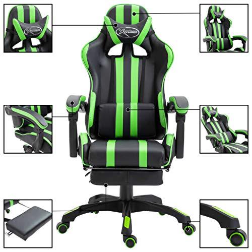 Festnight Gamingstoel met voetensteun kunstleer Gaming-stoel, stalen as, militair design, ergonomisch, gevoerde armleuningen, in hoogte verstelbaar, krasvaste wielen, lendenkussen groen