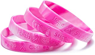 Omgouue 48pcs Breast Cancer Awareness Bracelets Pink Ribbon Camo Silicone Win