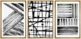 SIGNWIN Framed Canvas Wall Art Abstract Black and White Brushstrokes and Lines Geometric Patterns Illustrations Minimalism Modern Colorful for Living Room, Bedroom, Office - 24'x36'x3 Panels