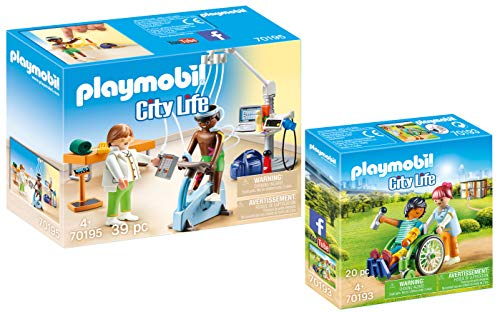 Playmobil® City Life 2er Set 70193 70195 Patient im Rollstuhl + Beim Facharzt: Physiotherapeut
