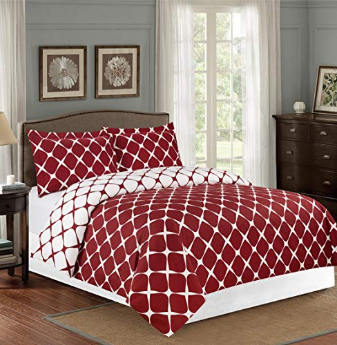 Elegant Comfort Luxury 2-Piece Reversible Duvet Cover Set -Soft 1500 Thread Count Egyptian Quality Bloomingdale Pattern -Comforter Cover with Button Closure and 2 Pillow Shams, King/Cali King,Burgundy
