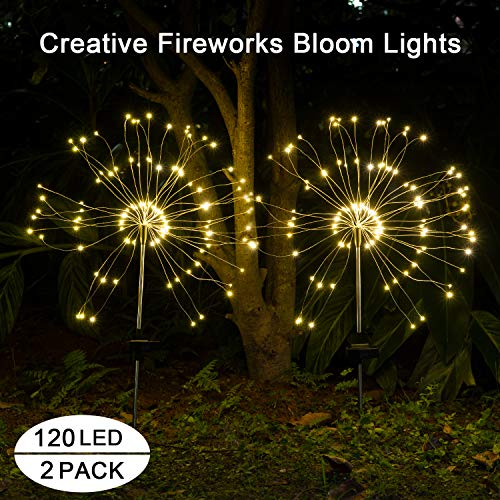 Solar Lights Outdoor Garden Decorative -Mopha Solar 120LED Powered 40Copper Wiress Stake String Pathway Light-DIY Flowers for Patio,Backyard Decor