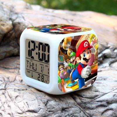 N/Z Super mario bros Relojes de Alarma de los Niños LED Reloj de dibujos animados de la noche de la luz Flash de 7 colores que cambia de reloj digital electrónico de escritorio, estilo 15