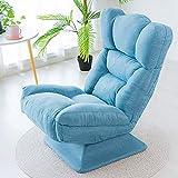 Silla giratoria de 360 °, silla reclinable ergonómica de escritorio de oficina con 3 respaldo ajustable y soporte lumbar cómodo plegable sofá perezoso para videojuegos (color: azul)