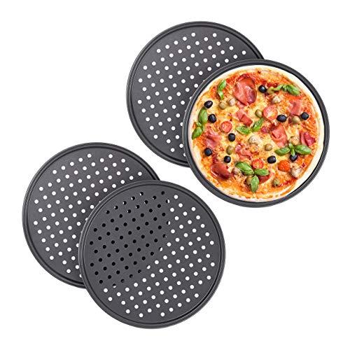 Relaxdays 10030761 Pizzablech, 4er Set, rund, gelocht, antihaft, Pizza & Flammkuchen, aus Stahl, Knusperblech, ∅ 32 cm, anthrazit