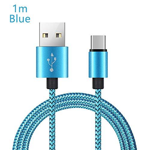 Lemon-Land 2A mobiele oplader Smartphones gevlochten Type-C 3.1 kabel USB-C snel opladen Sync Data(1m, blauw)