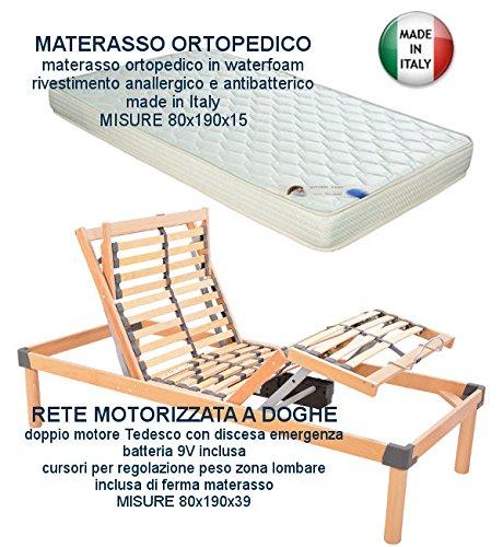 Più Relax Rete elettrica motorizzata a doghe in legno + materasso 80x190 motore Tedesco