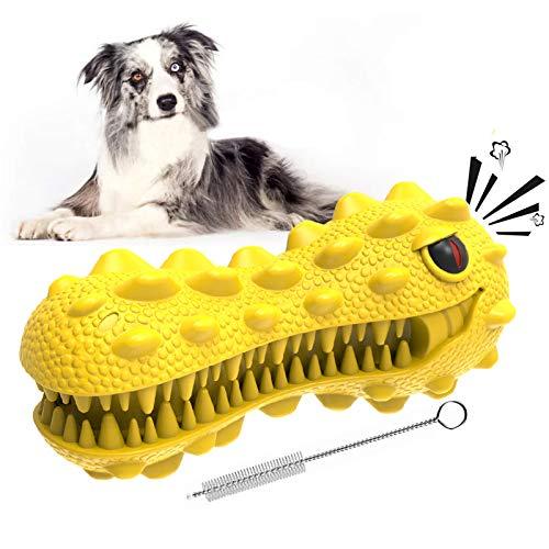 EZSMART Juguete para Masticar Perro, Juguetes Resistentes Cepillo de Dientes para Perros Grandes medianos, interactivos Juguetes para masticadores agresivos con Sonido para Limpia Dientes (Amarillo)