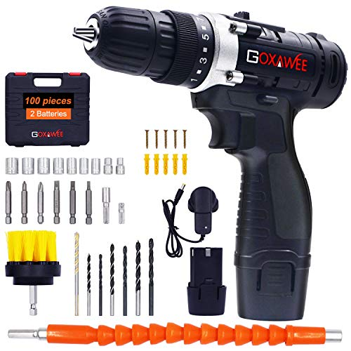GOXAWEE Cordless Drill 12V, 100Pcs Electric Screwdriver Set 2 Batteries 1500mAh, Max Torque 30Nm, 2-Speed, 10mm Automatic Chuck) for Home Improvement & DIY Project