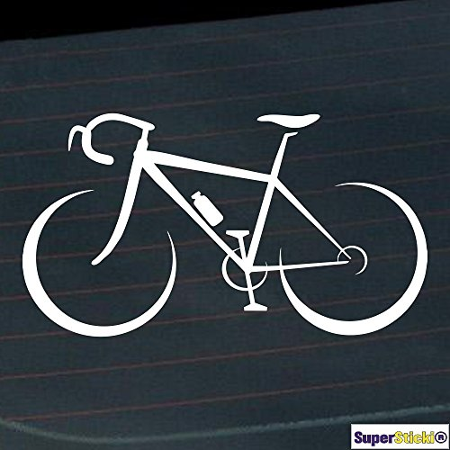 Rennrad Fahrrad rennen 20cm Autoaufkleber Auto Aufkleber Decal Sticker von SUPERSTICKI® aus Hochleistungsfolie für alle glatten Flächen UV und Waschanlagenfest Profi Qualität