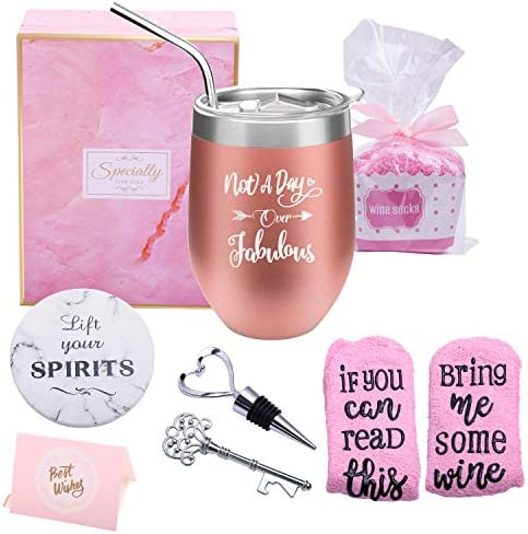 Yorktend Not a Day Over Fabulous Wine Tumbler Fun Birthday Gifts for Women Funny Birthday Wine product image