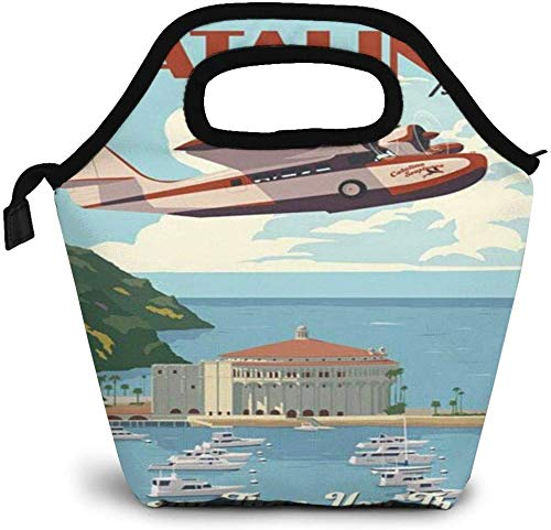 California Retro Travel Catalina Island Avalon Bay Insulated Lunch Bag Custom Bento Box Picnic Cooler Portable Handbag Lunch Tote Bag for Women Girl Men Boy
