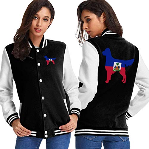 BYYKK Mujer Chaquetas Ropa Deportiva Abrigos, Haiti Flag Golden Retriever Dogs Women's Long Sleeve Baseball Jacket Baseball Cotton Jacket
