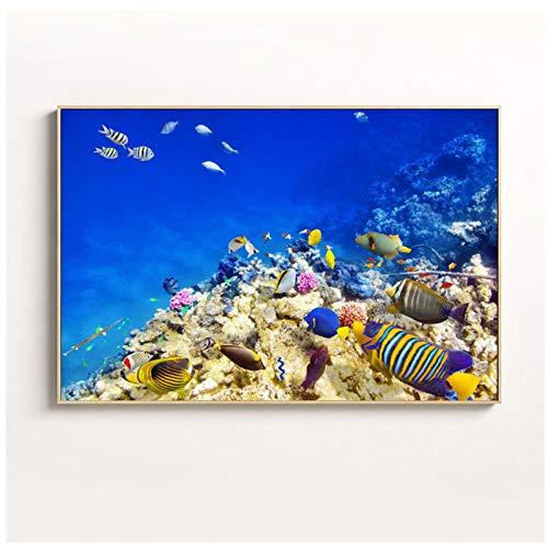 WANGHH Arte de la Lona Pintura de Peces Mundo Submarino Animales Corales Peces Océano de la Pared para la Sala de Estar Cartel nórdico Decoración de la habitación de los niños- 50x70cm sin Marco
