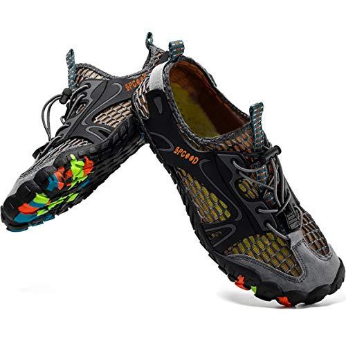 SPGOOD - Zapatillas de agua para descalzar, para playa, surf, deporte, de secado rápido, transpirables, antideslizantes, para hombres, mujeres y niños, color Gris, talla 39/40 EU