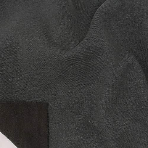 Telio Eco Organic Cotton Hemp Fleece Fabric, Charcoal, Fabric By The Yard