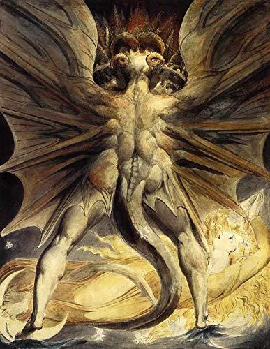 O Grande Dragão Vermelho e a Mulher Vestida Como o Sol (1803) de William Blake - 75x96 - Tela Canvas Para Quadro