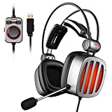 XIBERIA S21 USB Gaming Headset for PS4, PC, Laptop, Bass Vibration, Noise Cancelling, Soft Earmuffs Headphones with Mic, LED Light, in-line Controller, Sound Enhancement for Game